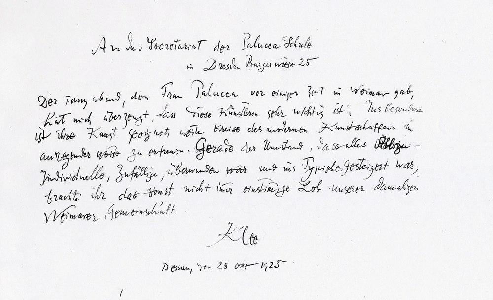 Manuskript des Beitrags, den Paul Klee für den Palucca-Prospekt 1925/26 verfasste.Stiftung Archiv der Akademie der Künste, Gret-Palucca-Archiv, Fotograf: Frank Röth ©Stiftung Archiv der Akademie der Künste