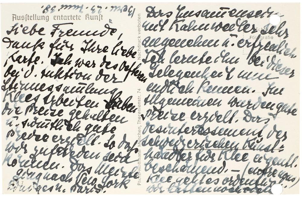 Postkarte (verso)von Lily Klee, Bern an Hermann und Margrit Rupf, 23.6.1938, Kunstmuseum Bern, Hermann und Margrit Rupf-Stiftung, Archiv © Rupf-Stiftung, Bern
