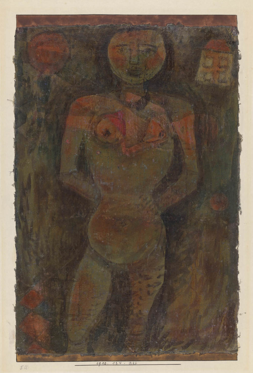 Paul Klee,  Akt, 1910, 124,  Nude, oil on muslin on cardboard, 38,9 x 25 cm, Zentrum Paul Klee, Bern © Zentrum Paul Klee, Bern, Bildarchiv