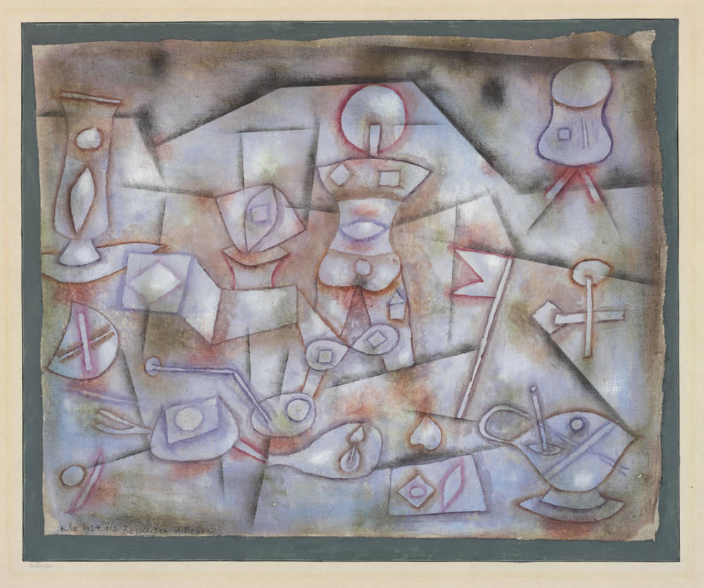 Klee,  Requisiten Stilleben, 1924, 112,   Still Life with Props,  oil on muslin on cardboard, 35.2/36.3 x 43.8/44.2 cm, Zentrum Paul Klee, Bern © Zentrum Paul Klee, Bern, Bildarchiv