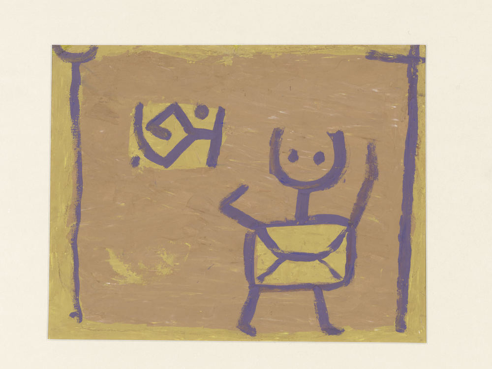 Paul Klee, Ohne Titel (Kind und Drache), um 1940, Untitled (Child and Kite), coloured paste on cardboard, 33,5 x 42,5 cm, Zentrum Paul Klee, Bern, Schenkung Livia Klee © Zentrum Paul Klee, Bern, Bildarchiv