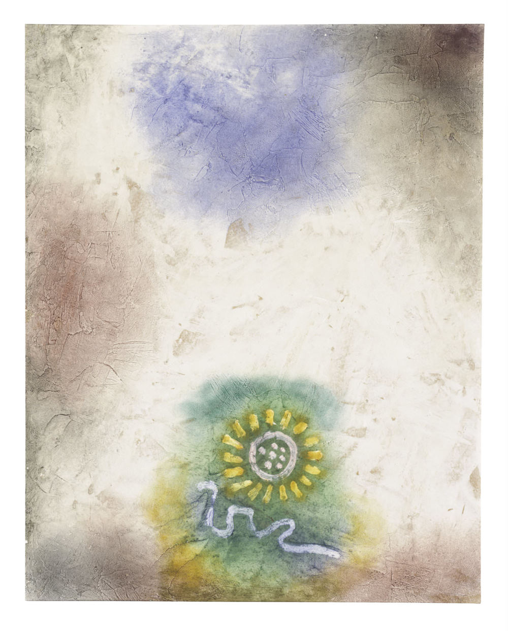 Paul Klee Ohne Titel ( Blume und Schlange ) [Rückseite von  Kind und Drache ], um 1940 Rückseite, Untitled ( Flower and Snake ), watercolour and coloured paste on primed cardboard, 33,5 x 42,5 cm, Zentrum Paul Klee, Bern, Schenkung Livia Klee © Zentrum Paul Klee, Bern, Bildarchiv