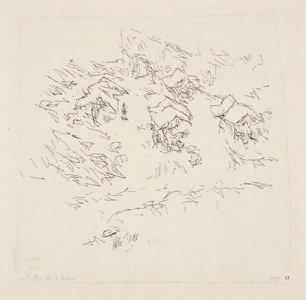 Paul Klee, a. d. Steinbr. b. Bern,  1909, 23,Feder auf Papier auf Karton,14,3 x 14,6 cm,Zentrum Paul Klee, Bern © Zentrum Paul Klee, Bern, Bildarchiv
