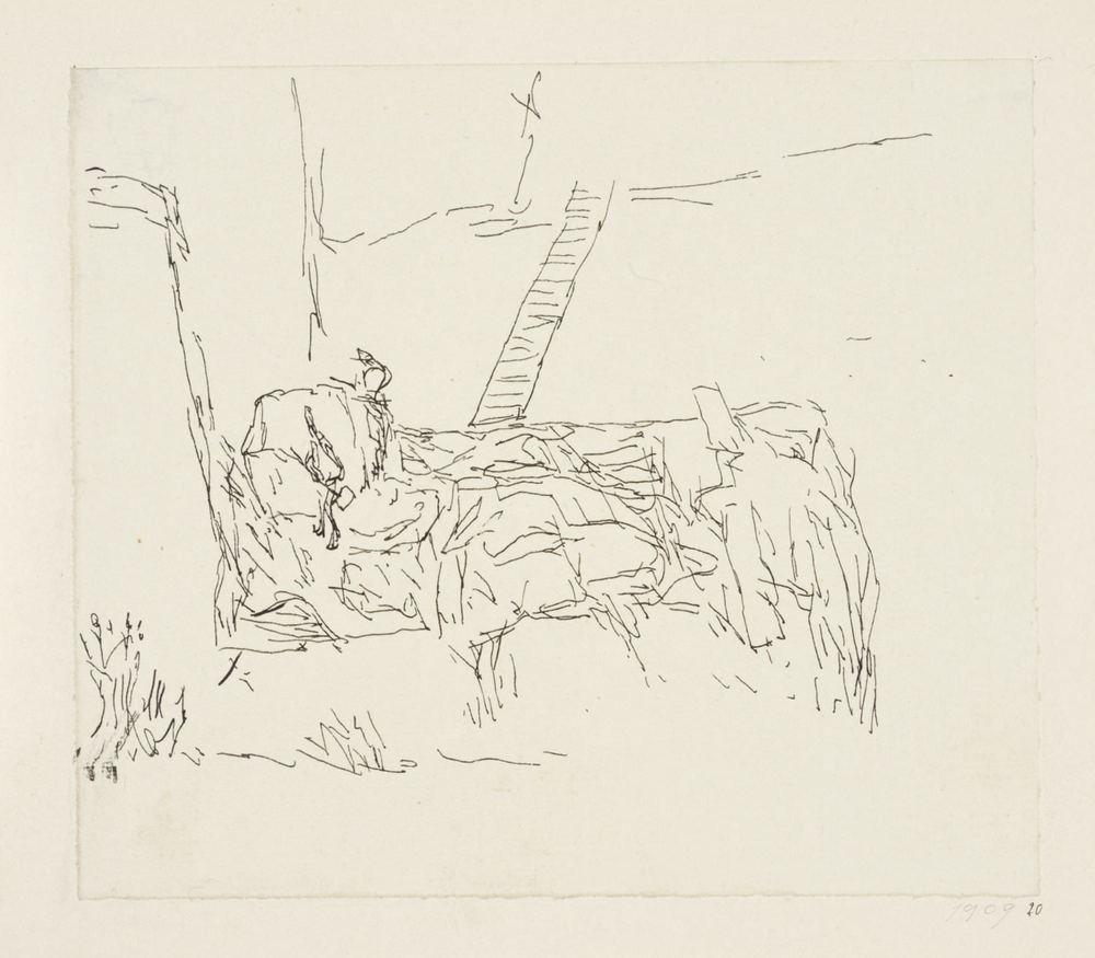 Paul Klee,  Arbeiter im Sandsteinbruch, auf einer Terrasse , 1909, 20,Feder auf Papier auf Karton,11,4 x 13,2 cm,Zentrum Paul Klee, Bern © Zentrum Paul Klee, Bern, Bildarchiv