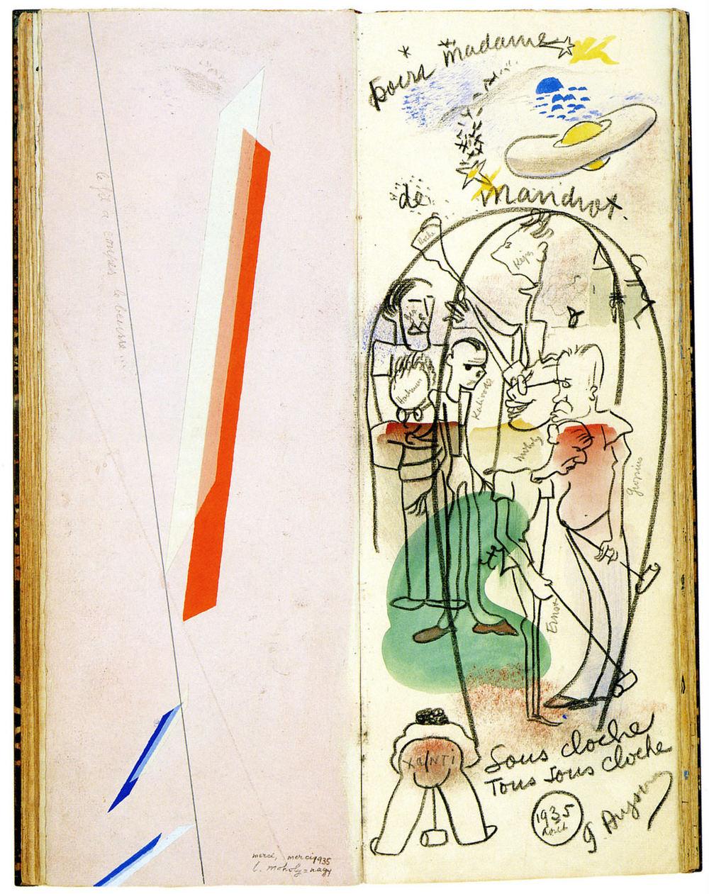 Abb. 12b:Gästebuch vom Künstlerhaus in La Sarraz, 1935. A1, mit Einträgen von László Moholy-Nagy u. Géa Augsbourg © Archives cantonales vaudoises, Chavannes-près-Renens