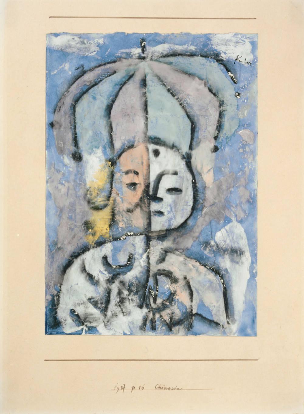 Abb. 16:Paul Klee,Chinesin, 1937, 116,Kohle und Aquarell auf Grundierung auf Papier auf Karton, 24 x 17 cm,Privatbesitz, Schweiz © Zentrum Paul Klee, Bern, Bildarchiv
