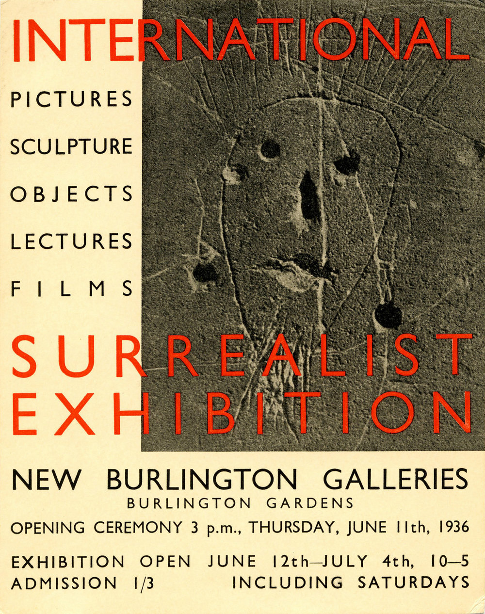 Abb. 2: Einladungskarte: The International Surrealist Exhibition. New Burlington Galleries, London 1936, Zentrum Paul Klee, Bern, Schenkung Familie Klee © Zentrum Paul Klee, Bildarchiv