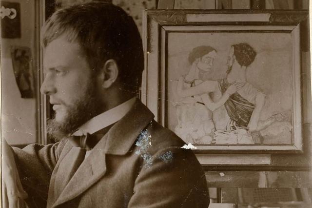 Paul Klee in seinem Atelier am Obstbergweg 6, Bern, Herbst 1902. Bild: Nachlass Sasha Morgenthaler-Thun