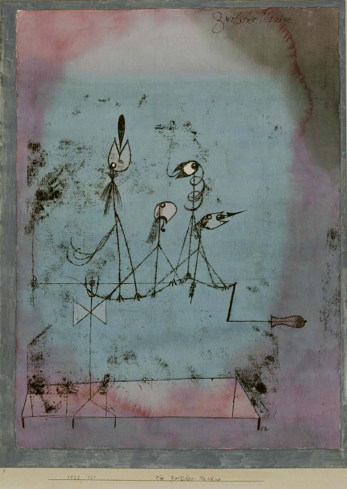 Paul Klee  Die Zwitscher-Maschine , 1922, 151, Ölpause und Aquarell auf Papier auf Karton, 41,3 x 30,5 cm, The Museum of Modern Art, New York, Mrs. John D. Rockefeller Jr. Purchase Fund. DIGITAL IMAGE © 2016 The Museum of Modern Art/Scala, Florence