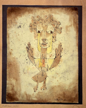 Paul Klee, Swiss, 1879–1940. Angelus Novus, 1920 India ink, color chalks, and brown wash on paper, 32.2 x 24.2 cm Gift of Fania and Gershom Scholem, Jerusalem, John Herring, Marlene and Paul Herring, Jo-Carole and Ronald Lauder, New York; Collection The Israel Museum, Jerusalem B87.0994. Photo © The Israel Museum, Jerusalem, by Elie Posner