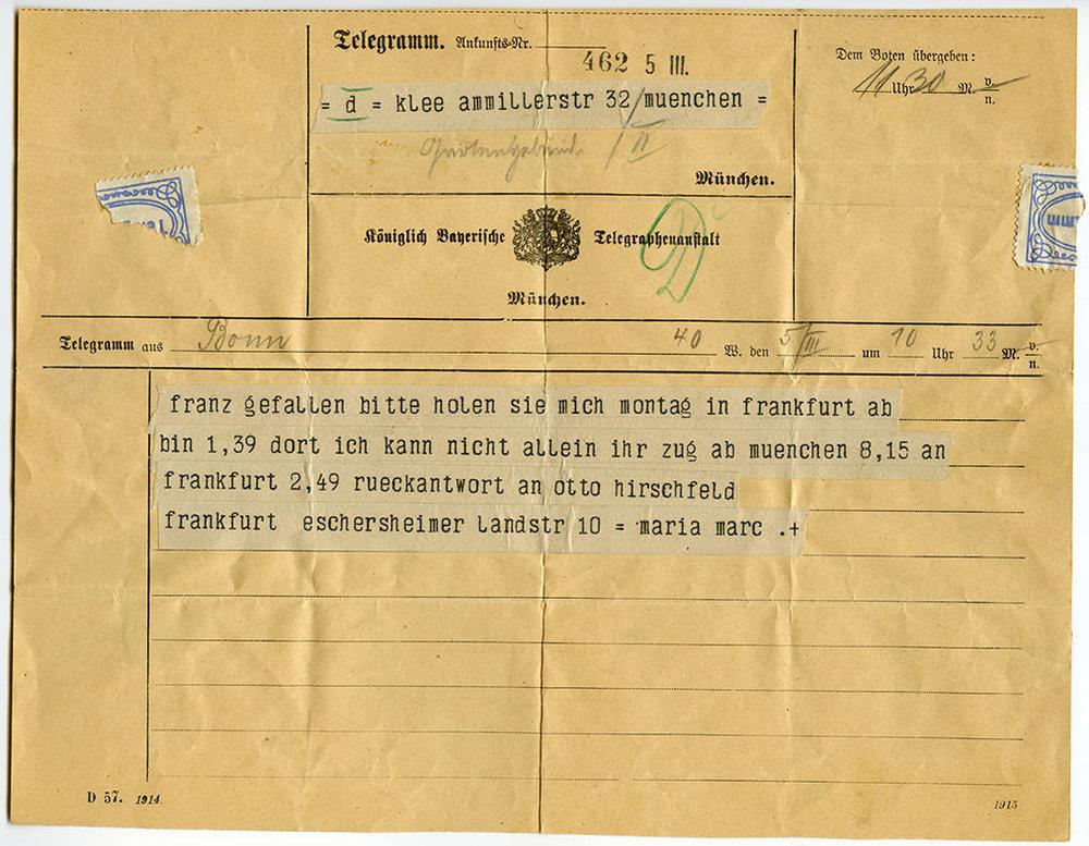Abb.1 Telegramm von Maria Marc an Paul und Lily Klee , 5.3.1916, Schenkung der Familie Klee, Zentrum Paul Klee, Bern, © Zentrum Paul Klee, Bern, Bildarchiv