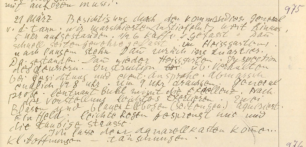 Abb.7 Paul Klee, Tagebuch IV, Nr. 975, Landshut 1916 / März, Zentrum Paul Klee, Bern © Zentrum Paul Klee, Bern, Bildarchiv