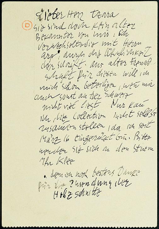 Abb.II Paul Klee aus Schleissheim an Tristan Tzara in Zürich, 23.11.1916, Feldpostkarte (Textseite von Abb. I), Bibliothèque littéraire Jacques Doucet, Paris © Bibliothèque littéraire Jacques Doucet, Paris