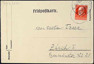 Abb.I Paul Klee aus Schleissheim an Tristan Tzara in Zürich, 23.11.1916, Feldpostkarte (Adressseite), Bibliothèque littéraire Jacques Doucet, Paris © Bibliothèque littéraire Jacques Doucet, Paris