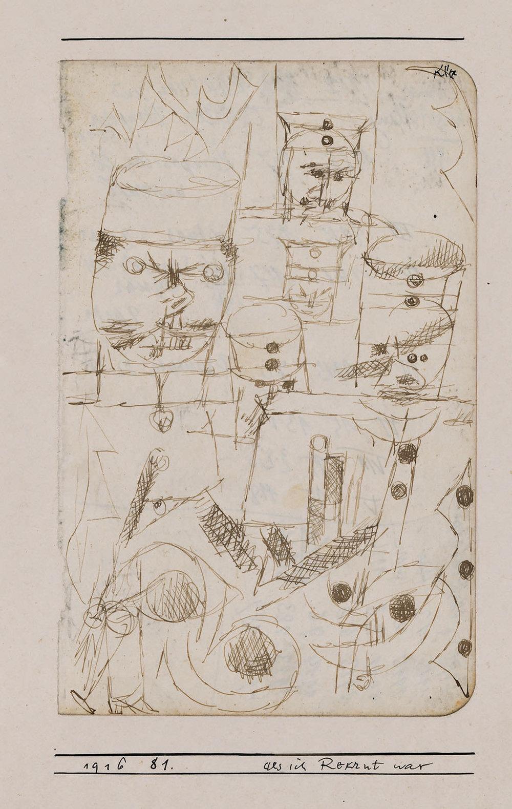 Abb.9 Paul Klee,  als ich Rekrut war , 1916, 81 , Feder auf Papier auf Karton, 17,3 x 11 cm, Zentrum Paul Klee, Bern, Schenkung Livia Klee ©Zentrum Paul Klee, Bern, Bildarchiv