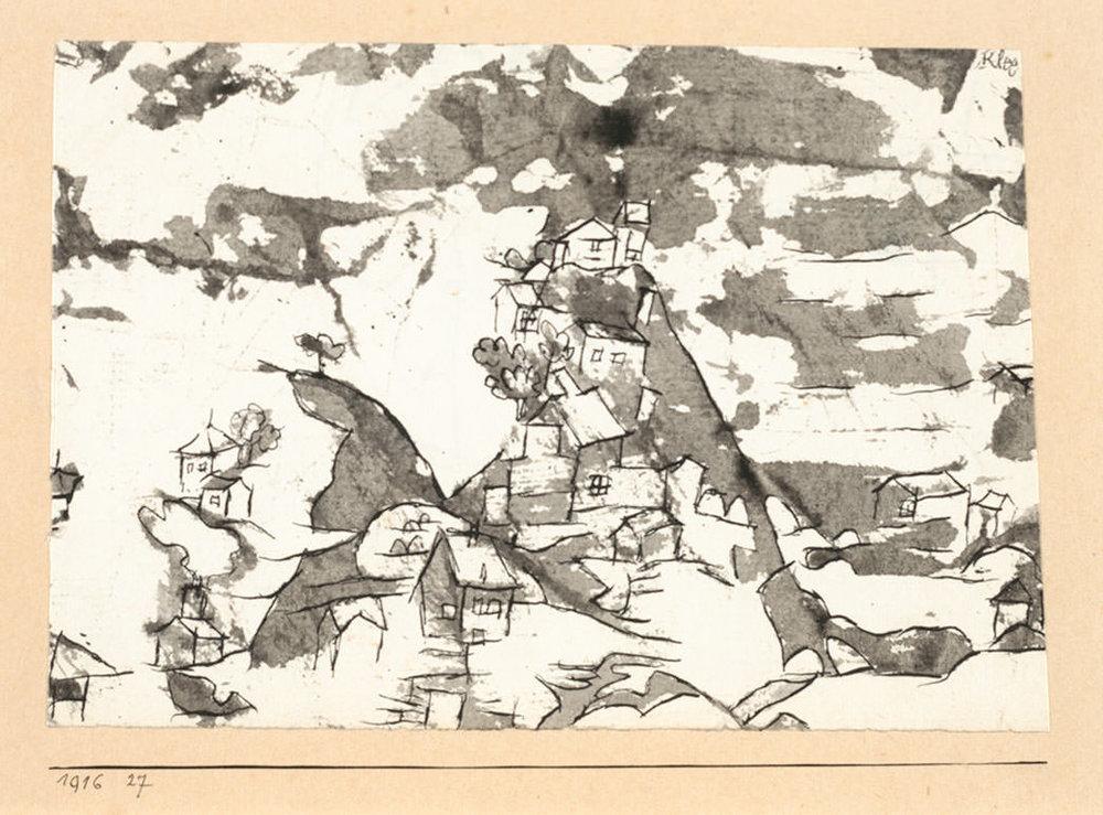 Abb.32 Paul Klee, kl. Landschaft, <Häuschen die einen Hügel besteigen>, 1916, 27 , Feder und Pinsel auf Papier auf Karton , 10,3 x 15,1/14,4 cm , Albertina, Wien, Sammlung Carl Djerassi © Albertina, Wien