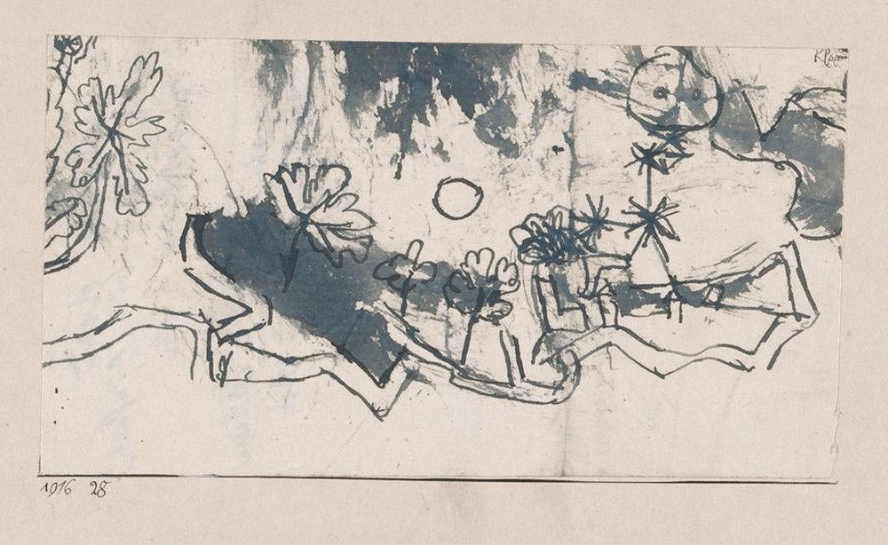 Abb.33 Paul Klee, kl. Landschaft, <zwei Gestirne>, 1916, 28 , Feder und Pinsel auf Papier auf Karton , 7,8 x 14,1 cm , Zentrum Paul Klee, Bern © Zentrum Paul Klee, Bern, Bildarchiv