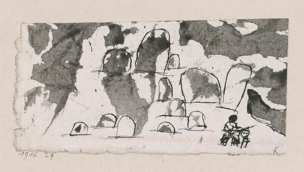 Abb.36 Paul Klee, kl. Landschaft, <mit der Opferung Isaaks>, 1916, 29 , Feder und Pinsel auf Papier auf Karton , 5,6 x 11,1 cm , Zentrum Paul Klee, Bern © Zentrum Paul Klee, Bern, Bildarchiv