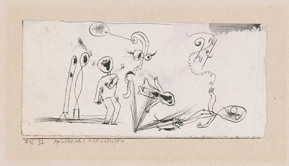 Abb.37 Paul Klee, Spiritistische Katastrophe, 1916, 32 , Feder auf Papier auf Karton , 7,4 x 15,7 cm , Zentrum Paul Klee, Bern © Zentrum Paul Klee, Bern, Bildarchiv