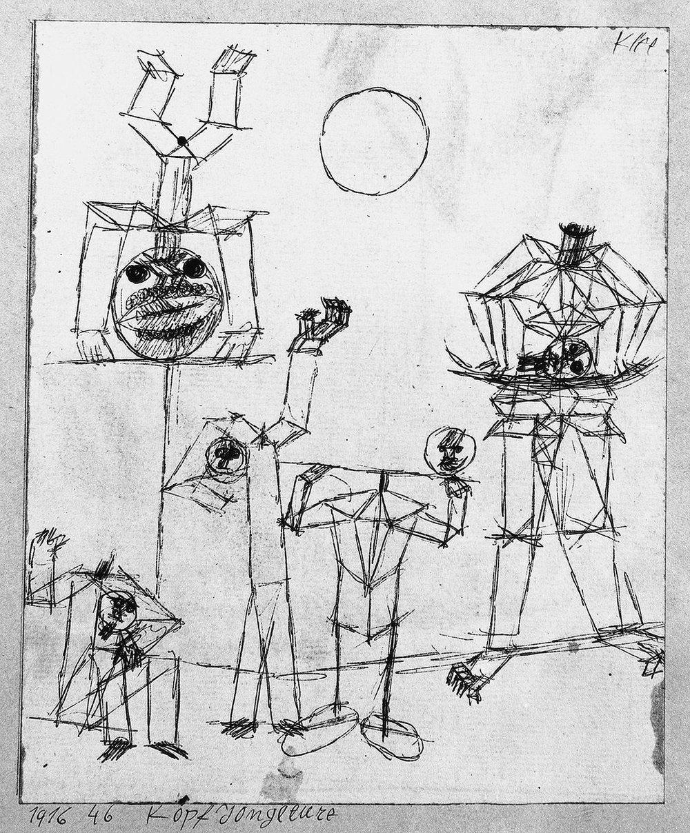Abb.38 Paul Klee, Kopf Jongleure, 1916, 46 , Feder auf Papier auf Karton , 17 x 14 cm , Standort unbekannt © Zentrum Paul Klee, Bern, Archiv