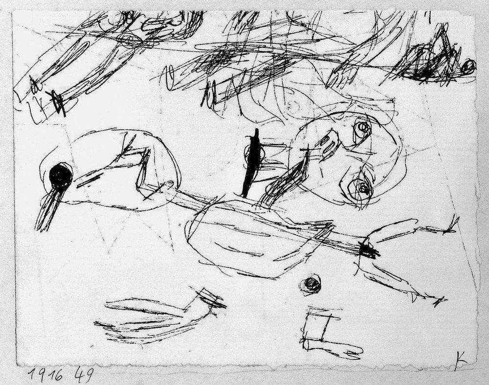 Abb.39 Paul Klee, Tote ganz und teilweise, (Kleinigkeit), 1916, 49 , Feder auf Papier auf Karton , 7 x 9,5 cm, Standort unbekannt © Zentrum Paul Klee, Bern, Archiv