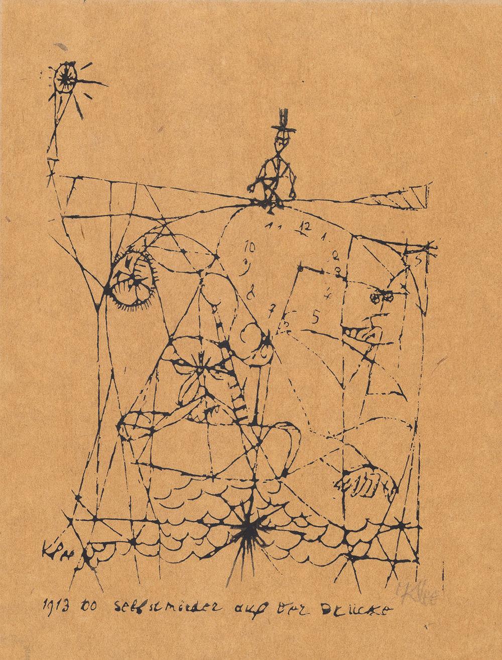 Abb.41 Paul Klee, Selbstmörder auf der Brücke, 1913, Handdruck mit dem Cliché von 1913, 100 , 25,4 x 18,5 cm, Zentrum Paul Klee, Bern © Zentrum Paul Klee, Bern, Bildarchiv