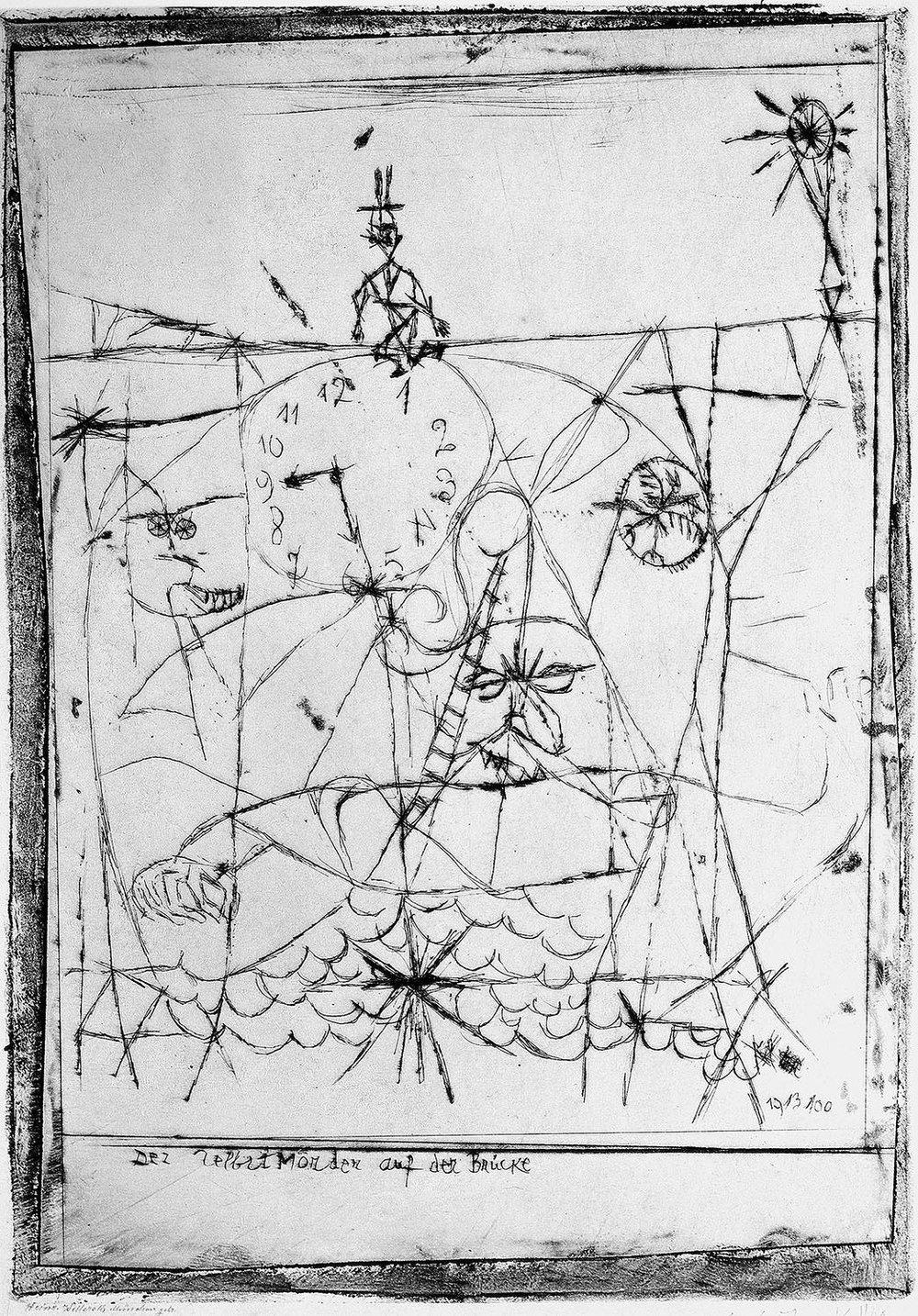 Abb.42 Paul Klee, Der Selbst Mörder auf der Brücke, 1916, 53 , Kaltnadel, 21,8 x 15,3 cm , Standort unbekannt © Zentrum Paul Klee, Bern, Archiv
