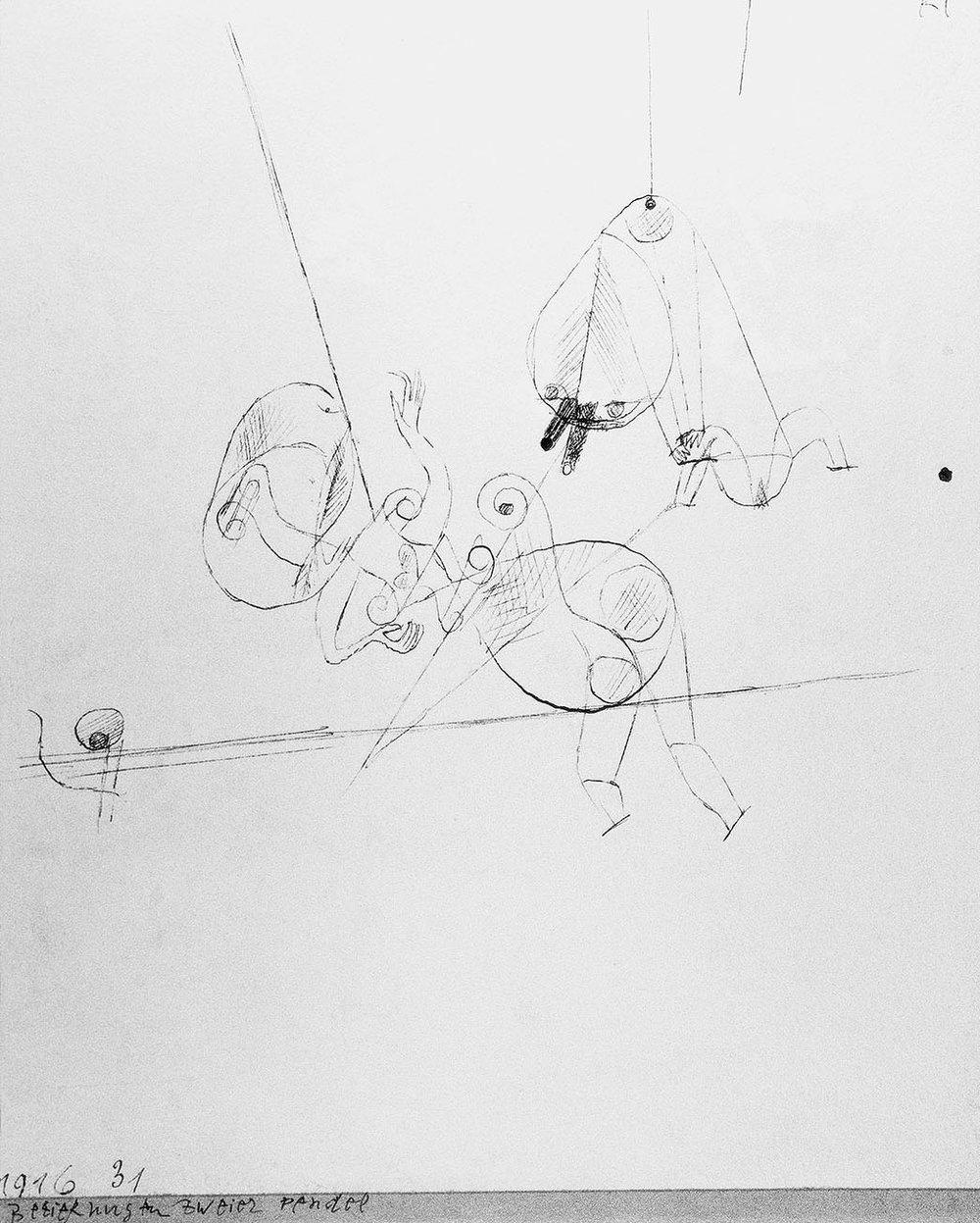 Abb.45 Paul Klee, Beziehungen zweier Pendel, 1916, 31 , Feder auf Papier auf Karton , 19,1 x 15,5 cm , Galleria Sacchetti, Ascona © Zentrum Paul Klee, Bern, Archiv