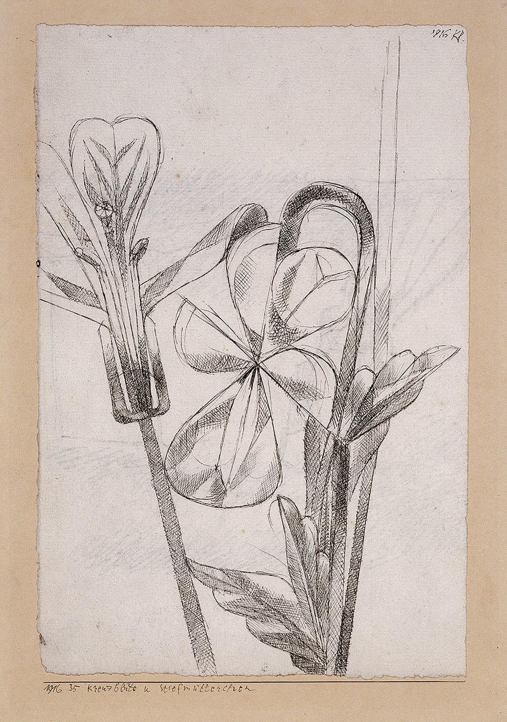 Abb.47 Paul Klee, Kreuzblüte u Stiefmütterchen, 1916, 35 , Feder auf Papier auf Karton , 23,9 x 15,9 cm, Kunstmuseum Basel, Kupferstichkabinett ©Kunstmuseum Basel, Martin P. Bühler