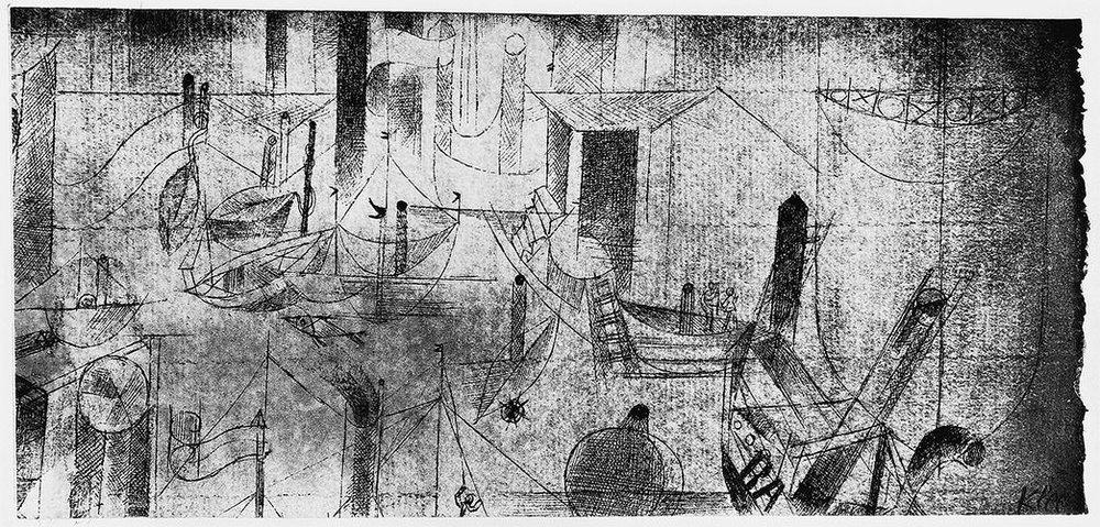 Abb.51 Paul Klee, Hafenbild mit dem Schiff BA, 1916, 51 Feder und Aquarell auf Papier auf Karton , 9,6/9,2 x 21,5 cm , Privatbesitz, USA  © Zentrum Paul Klee, Bern, Archiv