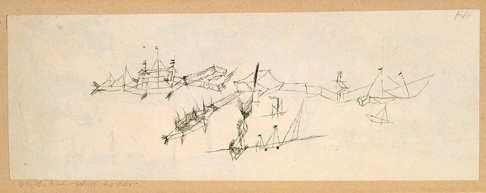 Abb.55 Paul Klee, Fisch-Schiff-Bastarde, 1916, 42 , Feder auf Papier auf Karton , 9,4/9,9 x 27/27,2 cm , Privatbesitz © Zentrum Paul Klee, Bern, Archiv
