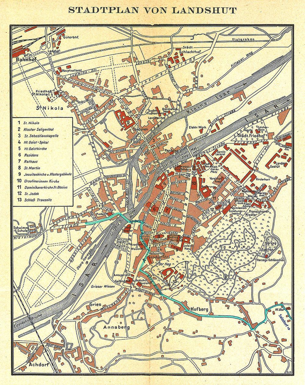 Abb.60 Stadtplan von Landshut. Beilage von: Alexander Heilmeyer, Landshut und Umgebung, München; Knorr & Hirth, ca. 1910
