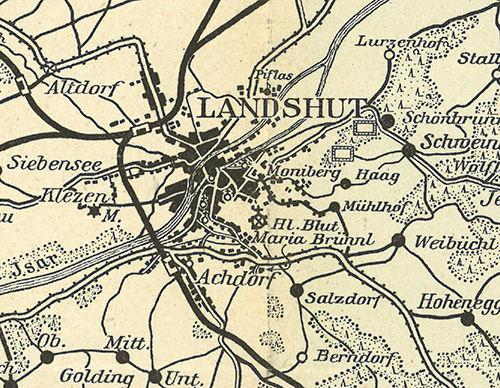 Abb.59 Umgebungskarte von Landshut (Ausschnitt)  Beilage von: : Alexander Heilmeyer, Landshut und Umgebung, München; Knorr & Hirth, ca. 1910