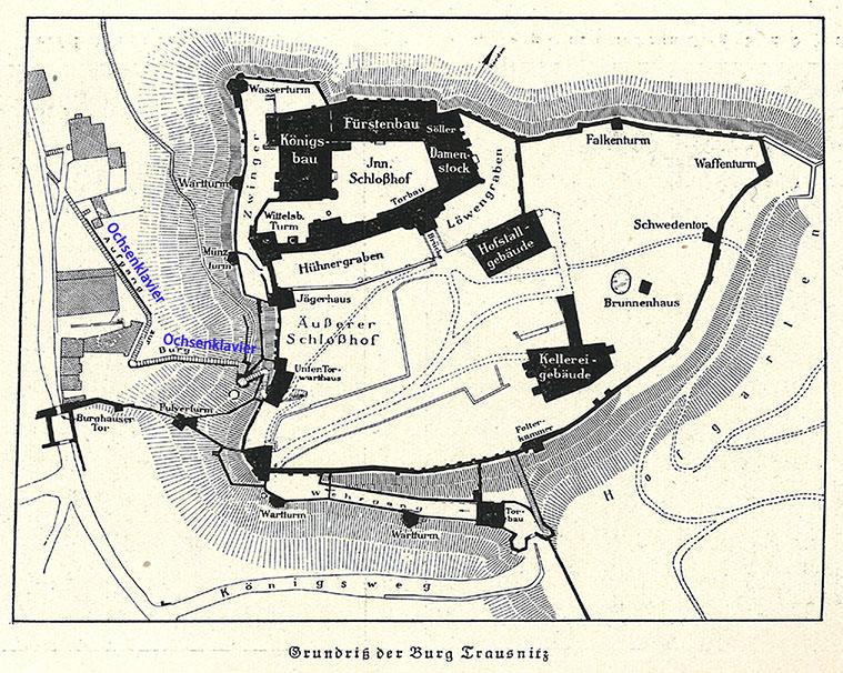 Abb.64 Grundriß der Burg Trausnitz. Aus: Alexander Heilmeyer, Landshut und Umgebung, München; Knorr & Hirth, ca. 1910