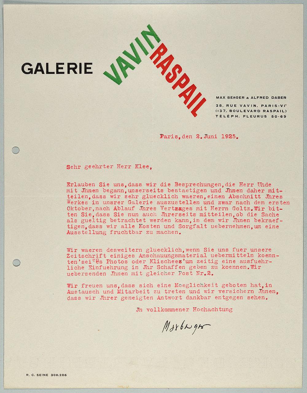 Abb. 6 Brief von der Galerie Vavin Raspail (Max Eichenberger) an Paul Klee, 02.06.1925 Zentrum Paul Klee, Bern, Schenkung Familie Klee  © Zentrum Paul Klee, Bern
