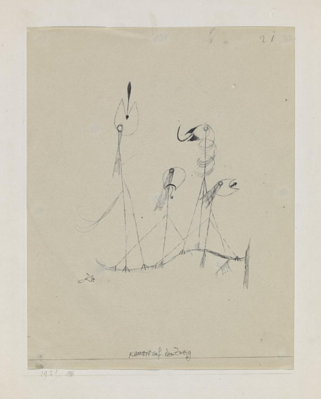 Paul Klee  Konzert auf dem Zweig,Concert on the Branch , 1921, 188,Feder, Konturen mit einer Nadel geritzt, auf Papier auf Karton 28,2 x 22 cm,Zentrum Paul Klee, Bern © Zentrum Paul Klee, Bern, Bildarchiv