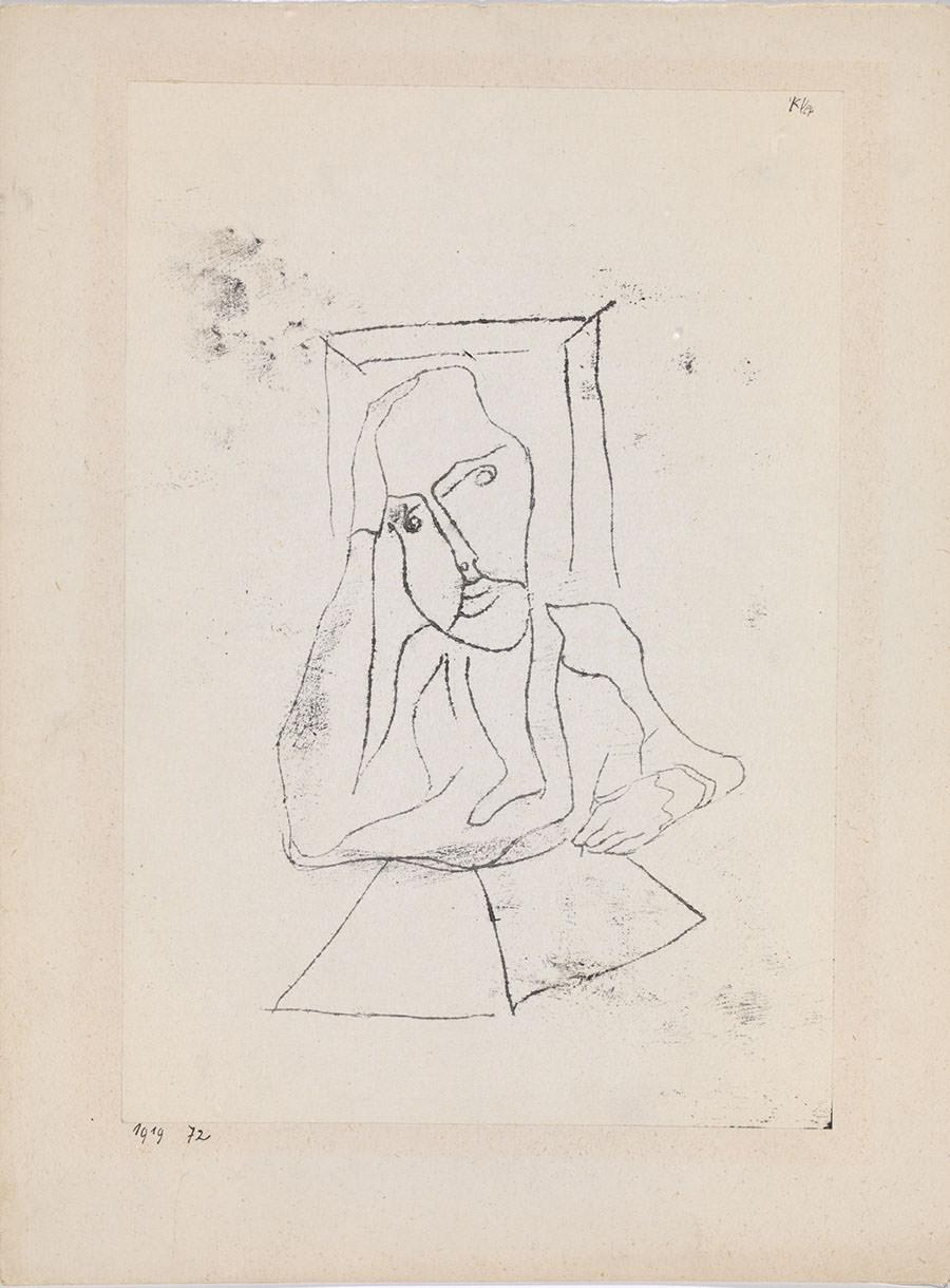 Abb.2 Paul Klee  Empfindender Künstler , 1919, 72, Ölpause auf Papier auf Karton, 26,1 x 17,9 cm, Zentrum Paul Klee, Bern, Schenkung Familie Klee © Zentrum Paul Klee, Bern, Bildarchiv