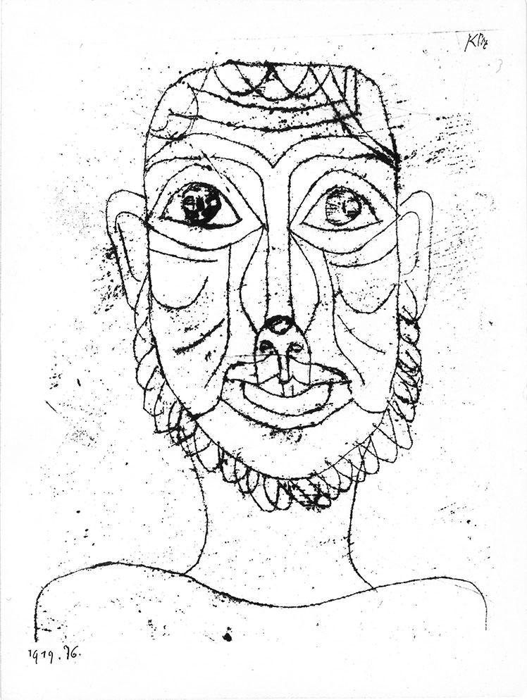 Abb.7 Paul Klee   Maske,  1919, 76, Ölpause auf Papier auf Karton, 19 x 15,2 cm, Standort unbekannt ©Zentrum Paul Klee, Bern, Archiv