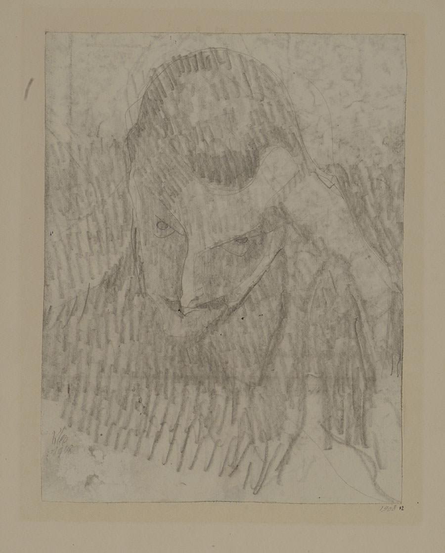 Abb. 12 Paul Klee   Junger männlicher Kopf in Spitzbart, handgestützt , 1908, 42, Bleistift auf Papier auf Karton, 22,1 x 16,9 cm, Zentrum Paul Klee, Schenkung Livia Klee ©Zentrum Paul Klee, Bern, Bildarchiv