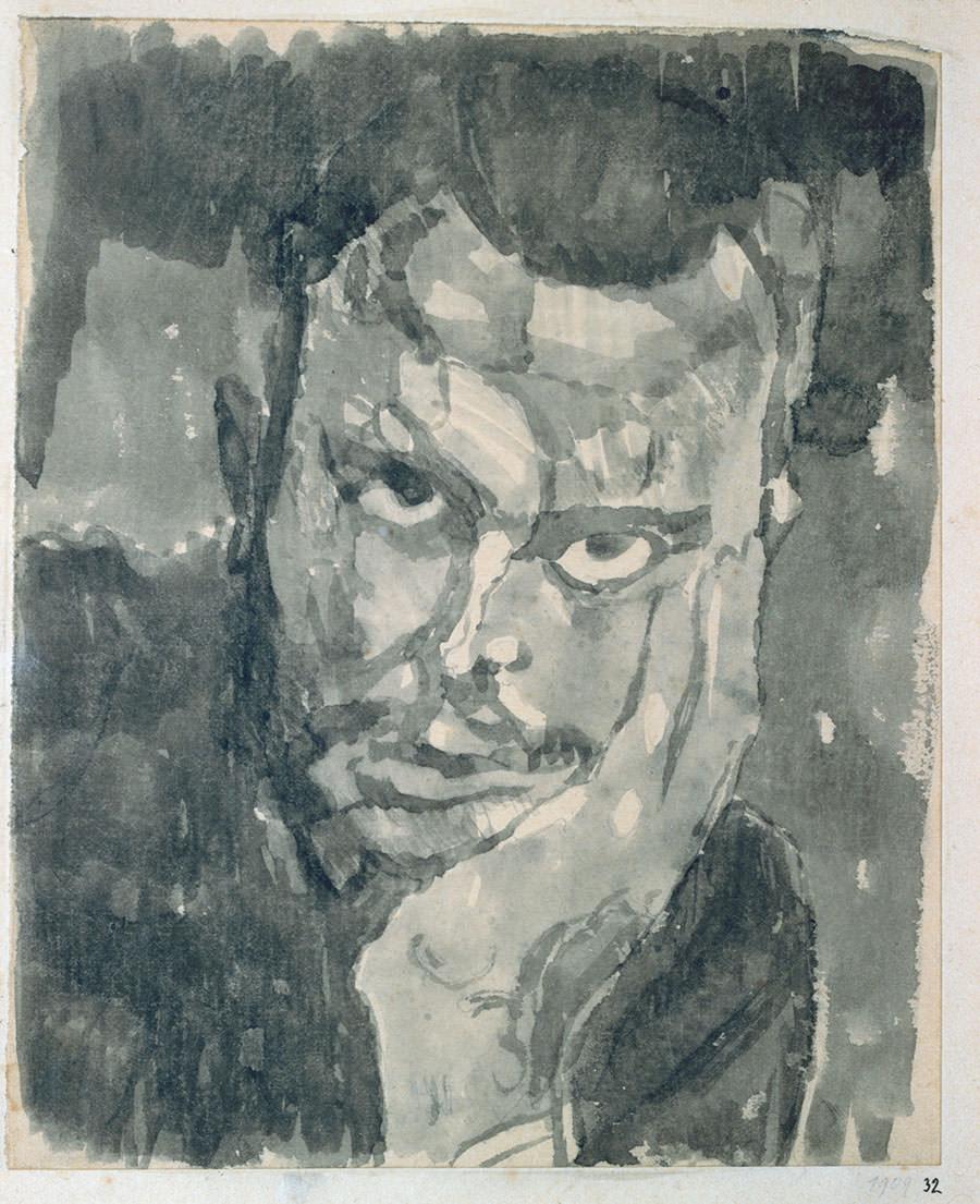 Abb.13 Paul Klee   Selbstportrait en face in d. Hand gestützt , 1909, 32, Aquarell auf Papier auf Karton, 16,7/16,3 x 13,7/13,4 cm, Privatbesitz ©Zentrum Paul Klee, Bern, Archiv
