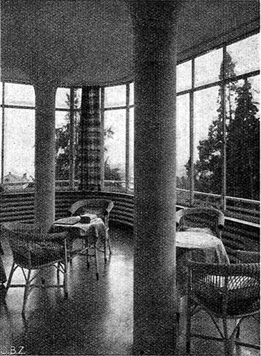 Abb.19  Klinik S. Agnese, Muralto, Tagesraum in der Südwestecke , 1938, Fotograf: E. Steinemann, in: Schweizerische Bauzeitung 111/112 (1938), S.17, Abb. 6