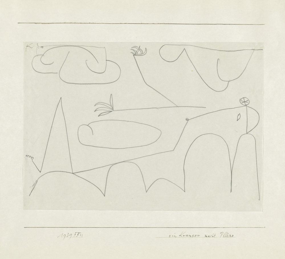Abb. 24  Paul Klee, ein Kranker macht Pläne, 1939, 611, Bleistift auf Papier auf Karton. Zentrum Paul Klee, Bern, Privatbesitz, Bern.  © Zentrum Paul Klee, Bern, Bildarchiv.