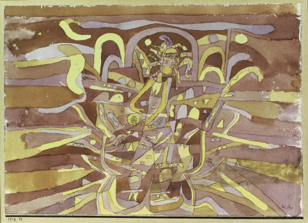 fig. 3 Paul Klee,  violett-gelber Schicksalsklang mit den beiden Kugeln  [Violet-Yellow Sound of Fate with the Two Spheres], 1916, 10, pen and watercolour on paper on cardboard, 17/17,3 x 24,3 cm , The Miyagi Museum of Art, Sendai, © The Miyagi Museum of Art, Sendai