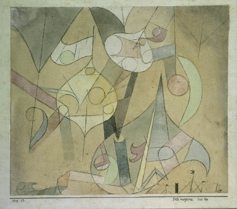 fig. 4  Paul Klee,  Fata morgana zur See  [Fata Morgana at Sea], 1918, 12, watercolour and pen on paper on cardboard, 12,7 x 14,9 cm , San Francisco Museum of Modern Art, Extended loan and promised gift of the Carl Djerassi Art Trust I, © San Francisco Museum of Modern Art