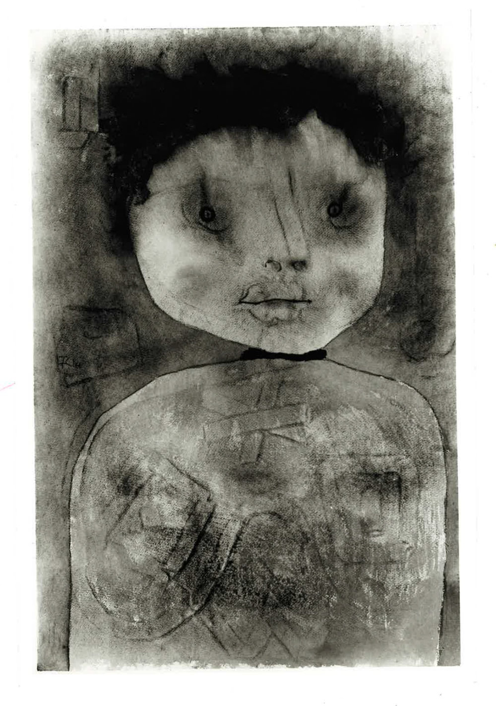 "fig. 12   Erwartender  [Expectant Man] , 1934, 150, OK: ""Aquarell= Kleister= und Ölfarben / ital Ingres"", Location unknown, Photo: Will Grohmann Archiv, Staatsgalerie Stuttgart, ©Zentrum Paul Klee, Bern, Bildarchiv"