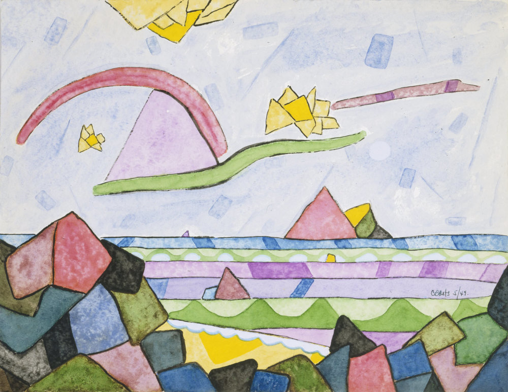 fig. 16 Clifforfd Odets,  Sea, Rocks, and Clouds , 1949, watercolor, ink and gouache on paper, 25.4 x 32.7 cm, signed and dated, Courtesy of Michael Rosenfeld Gallery LLC, New York, NY, © Walt Odets