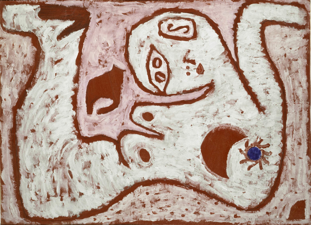 fig. 18 Paul Klee,  ein Weib für Götter  [A Woman for Gods], 1938, 452, Kleisterfarbe und Aquarell auf Papier auf Karton, 44,3 x 60,5 cm , Fondation Beyeler, Riehen/Basel, Sammlung Beyeler, © Fondation Beyeler, Riehen/Basel