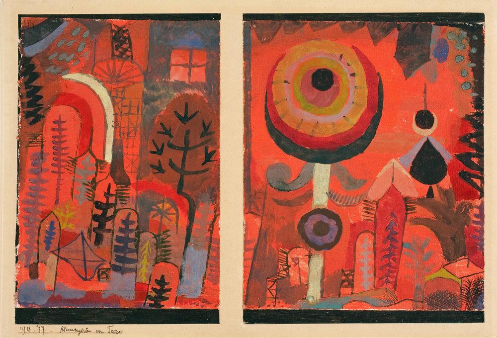 fig. 20 Paul Klee,  Blumengärten von Taora  [Flower Gardens of Taora], 1918, 77 , Aquarell auf Grundierung auf Papier auf Karton : a) 16 x 11,3 cm b) 15,9 x 13,3 cm , Allen Memorial Art Museum, Oberlin College, Oberlin, © Allen Memorial Art Museum, Oberlin