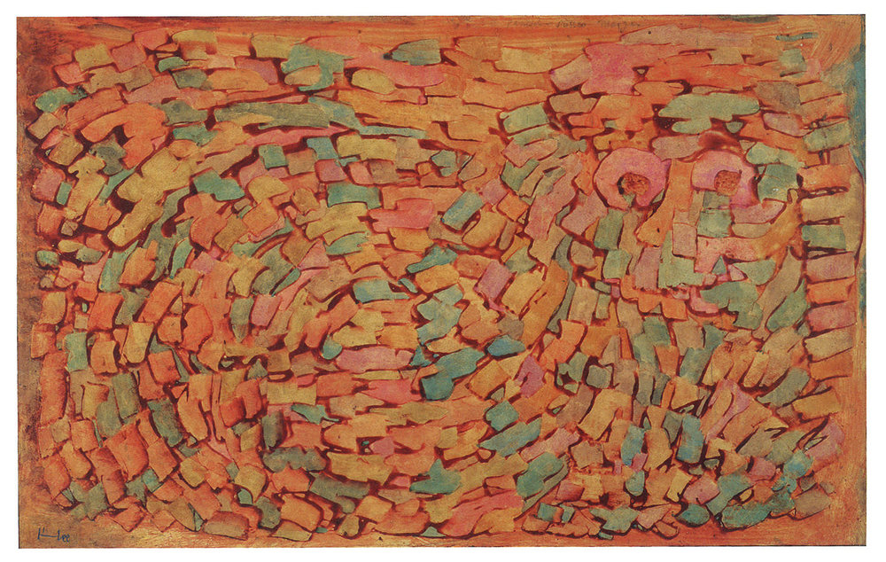 fig. 22 Paul Klee,  panisch-süsser Morgen  [panicky-sweet Morning], 1934, 11, coloured paste and watercolour on paper on cardboard, 31 x 49 cm, Private collection, USA, ©Zentrum Paul Klee, Bern, Bildarchiv