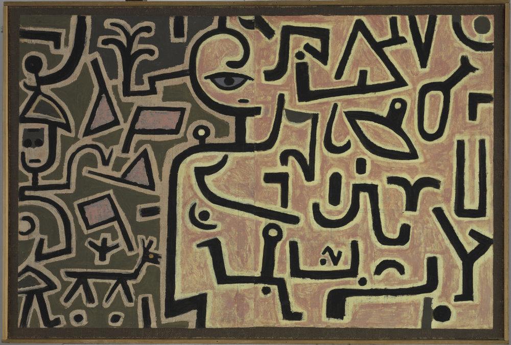 Abb. 1  Paul Klee, Vorhaben, 1938, 126, Kleisterfarbe auf Papier auf Jute; originale Rahmenleisten, 75,5 x 112,3 cm, Zentrum Paul Klee, Bern  ©Zentrum Paul Klee, Bern, Bildarchiv